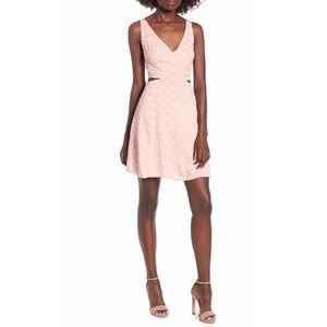AFRM Rayanna Polka Dot Cutout Mini Dress MistyRose